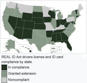 Real ID Act Map of Compliancy