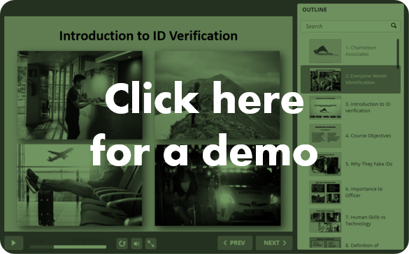 Click for a demo online course ID verification by Chameleon Associates