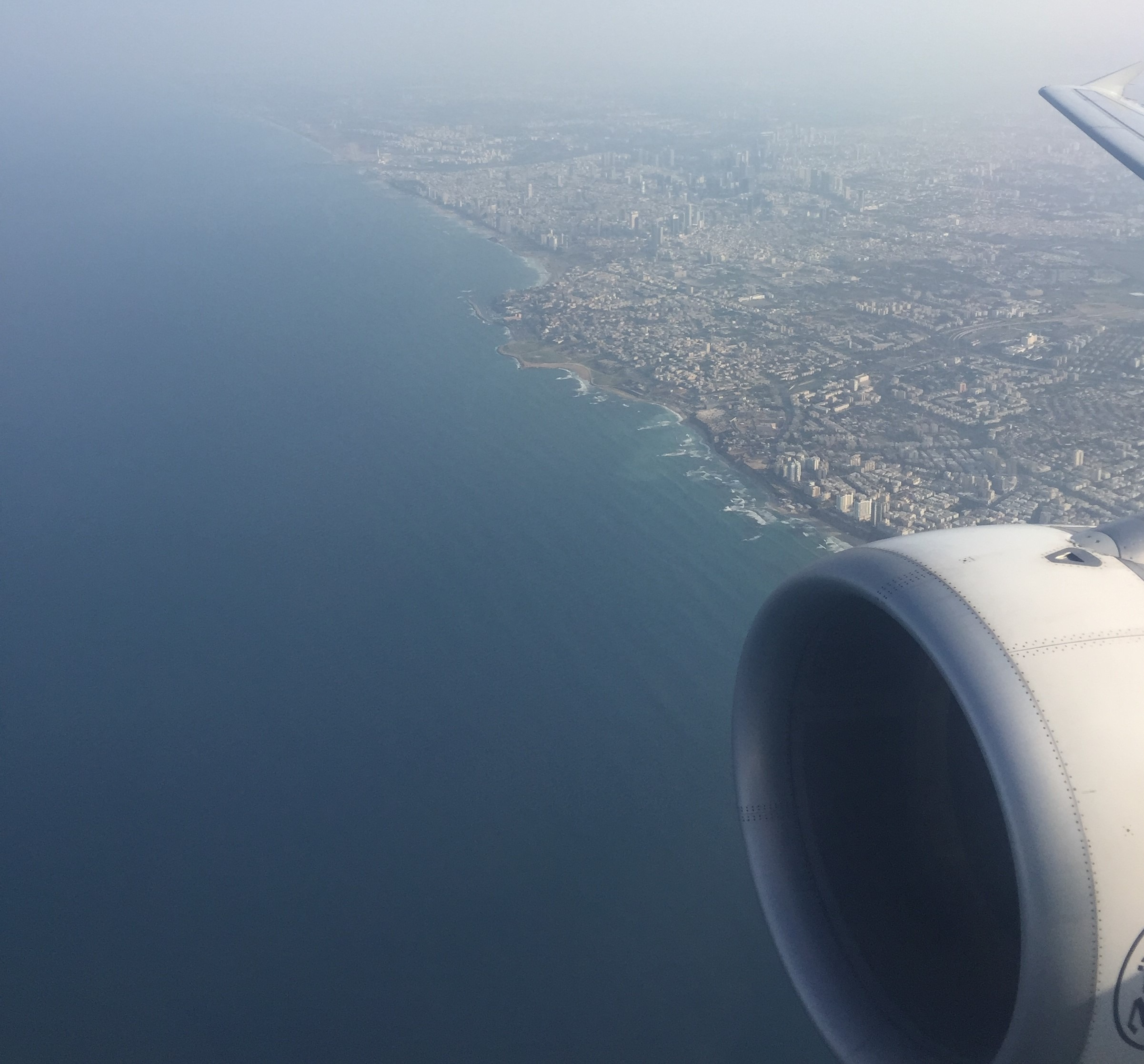 Israel coastline from airplane