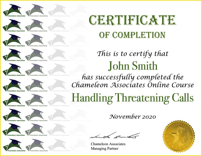 Certificate Example Handling Threatening Calls 2020