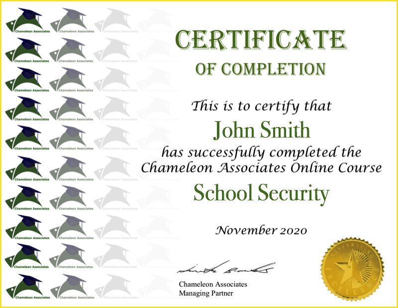 Certificate Example School Security 2020