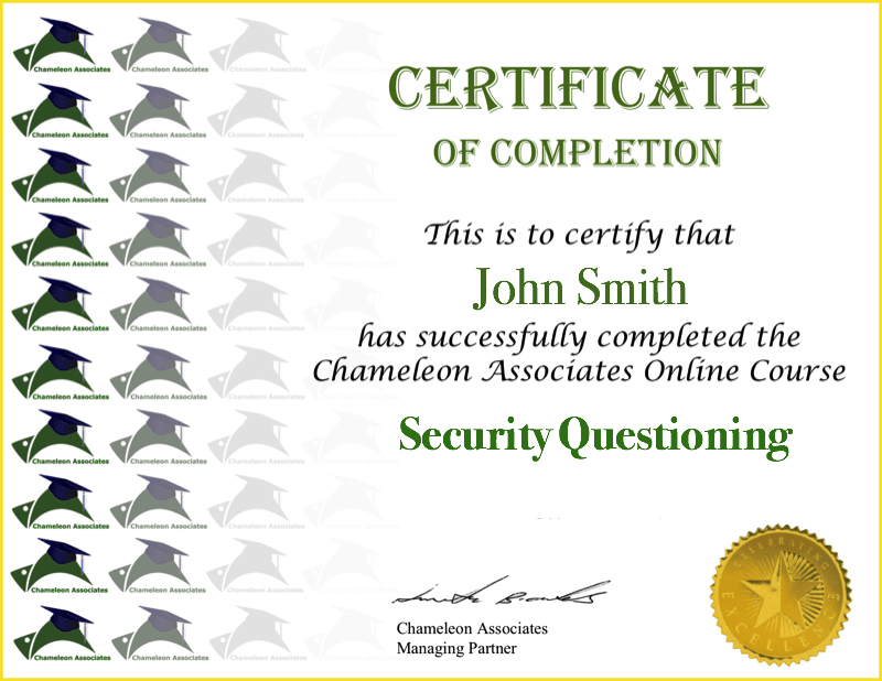 Certificate Example Security Questioning 2020