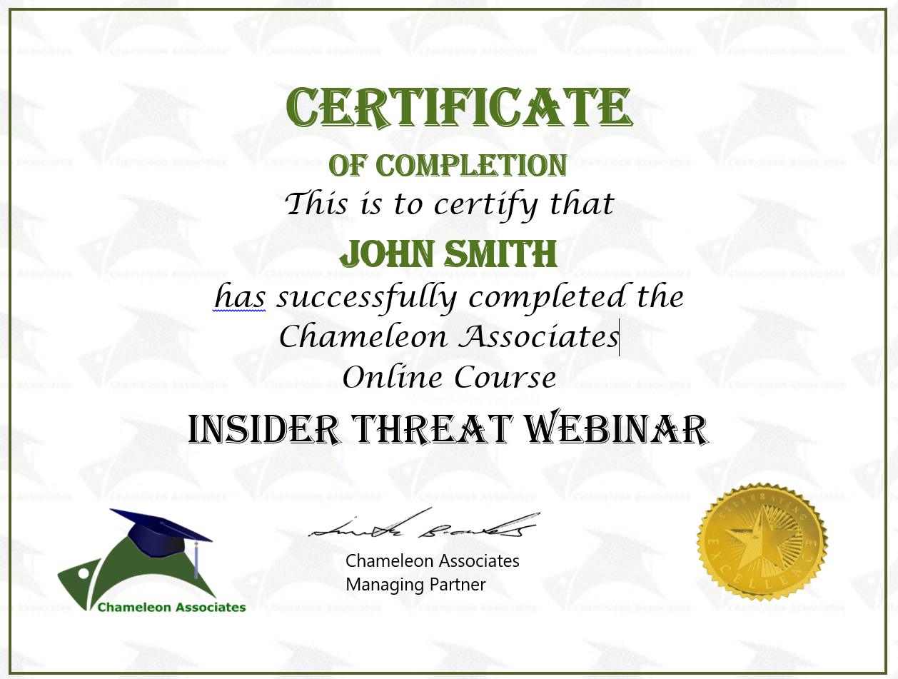 Insider Threat Webinar Certificate Icon