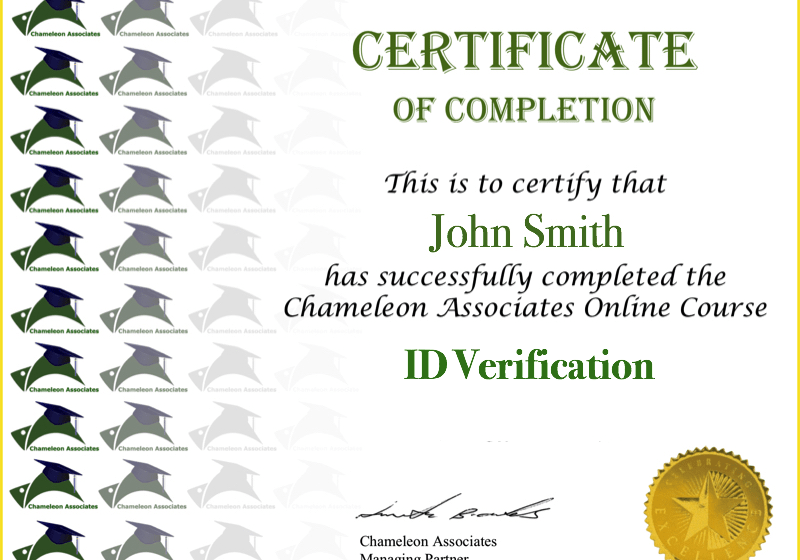 Certificate Example ID Verification 2020